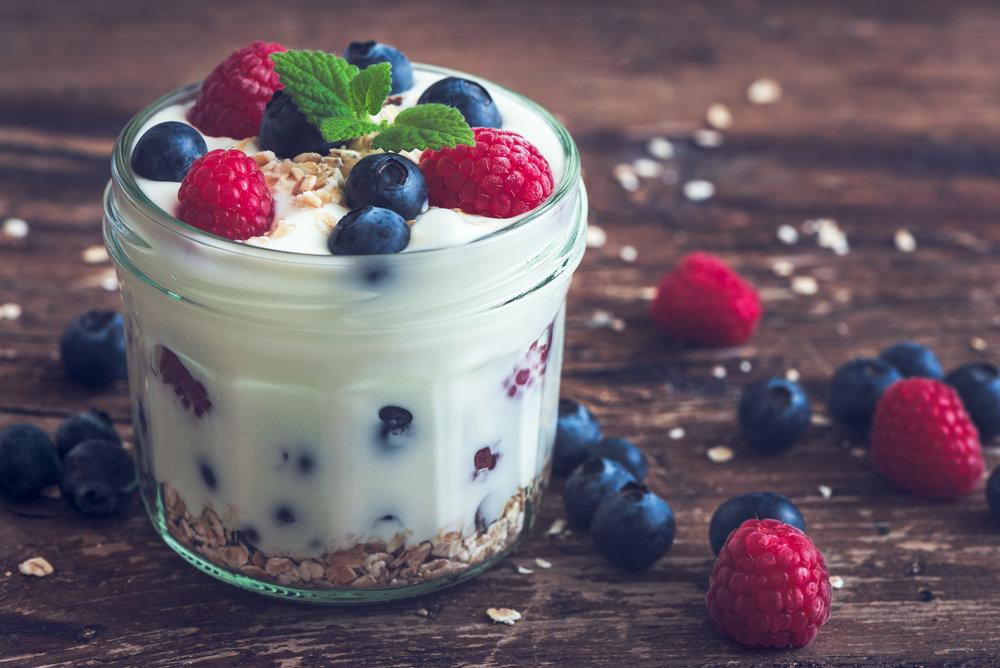Snack idea! Greek yogurt with granola and berries