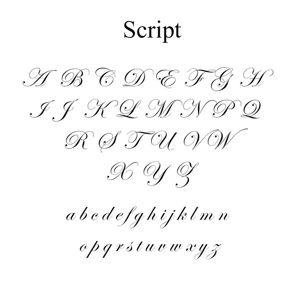 Script Font - A very traditional Edwardian script font with classic italic swirls. Perfect for initials and full names.