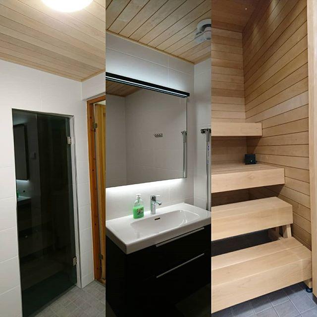 Syksyllä valmistunut Kylpyhuone-sauna remontti Järvenpäässä. #renokremontit #kylpyhuoneremontti #tervaleppä #sauna #järvenpää #kerava #tuusula