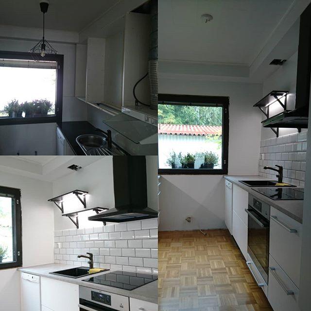 Keittiön muutostyö. Kohteessa säilytettiin osa vanhoista kaapeista ja ovista, ja osa uusittiin. Lisäksi seinälle tuli valohyllyt joista tuli aika hyvät :)