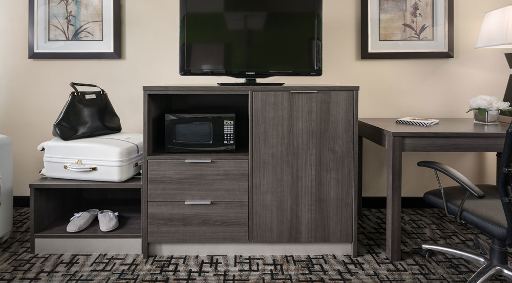 Simplicity Plus Signature Hotel Line | Combo Microwave, Refrigerator, Luggage Bench Unit
