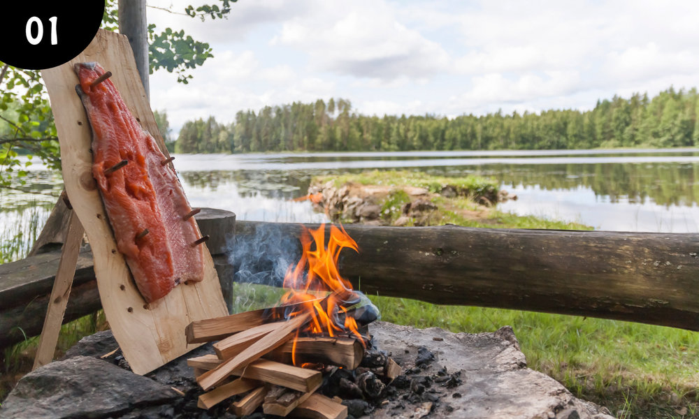 01 - Flamed Salmon!  This is a dish from the time before a single nail wash discovered! And it is still one of the most popular summer dishes at every summer house in Finland! -