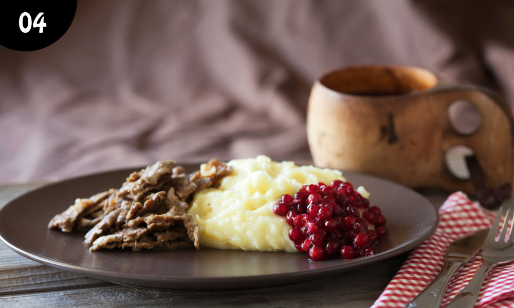 04 - Sauteed Reindeer. Reindeer meat is one of the healthiest foods you can put on your plate according to recent studies. And it is delicious! We serve it with mashed potatoes, this dish is eaten throughout the country, in all seasons. -