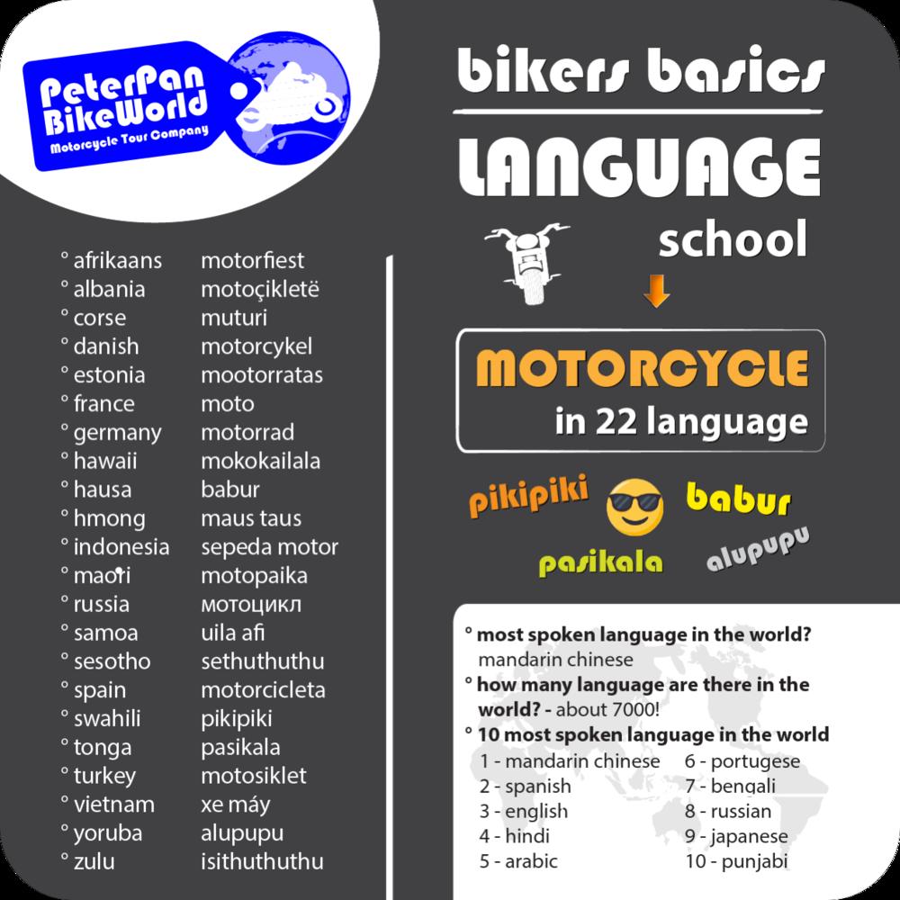 Bikers Basics - Language school. Motorcycle in 22 language!