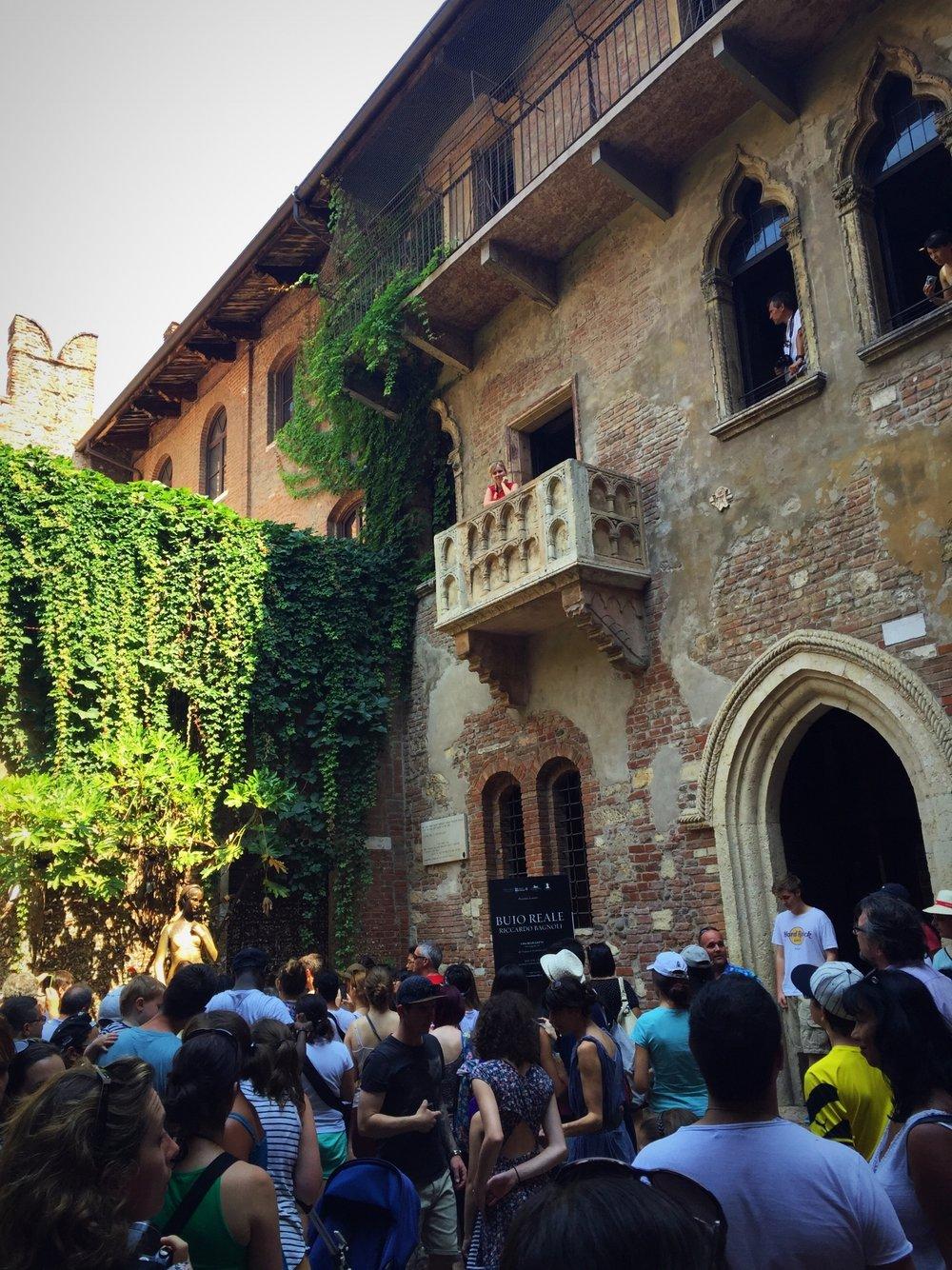 Juliet's balcony overlooking the Romantic Courtyard where Juliet's bronze statue stands