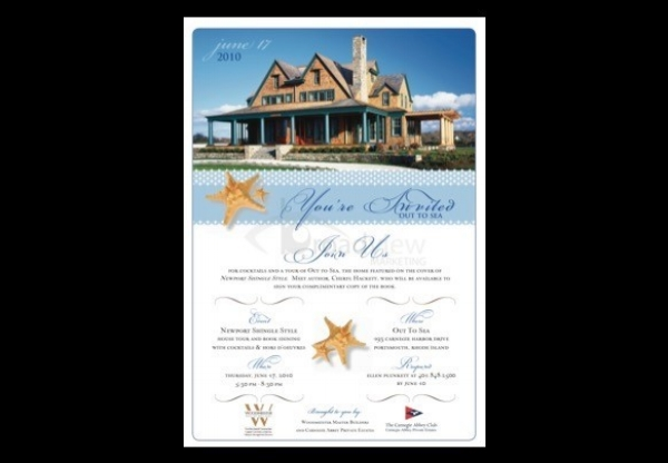 "Client: Woodmeister Master Builders & Carnegie Abbey Club Book signing and open house for Woodmeister Master Builders' completed home, ""Out to Sea"" - marketed by exclusive Carnegie Abbey Club Development Press Release Media Coverage - NECN Event concept and management Invitation"