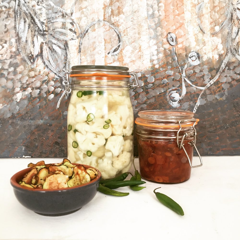 courgette crisps, fermented cauliflower, quince chutney