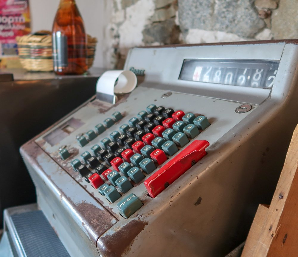 The owners still use the old cash register