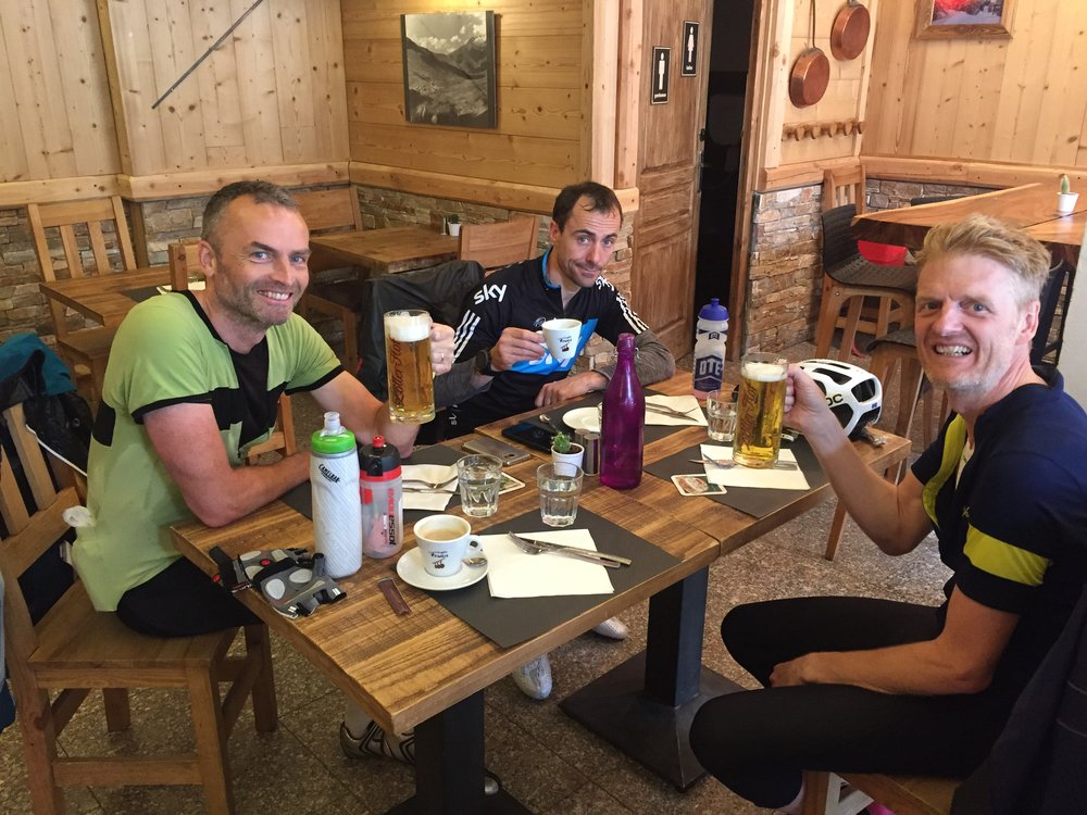 Old school carb loading at the top of Les Deux Alpes
