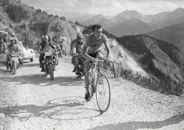 Louison Bobet crosses the Izoard in the1954 Tour de France
