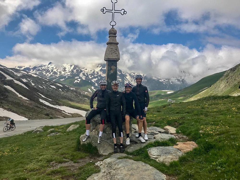 The iron cross memorial at the top of Col de la Croix de Fer