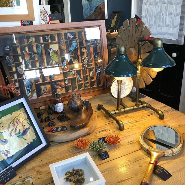 The perfect quirky lamp has arrived! We are thinking desk in a study or a console table in the hall?!! Wonderful craftsmanship and a truly unique one off treasure #lamp #unusuallamps #study #homeoffice #homedecor #steampunk #uniquefurniture #madeinbritain #artgallery #lynton #exmoor #devon
