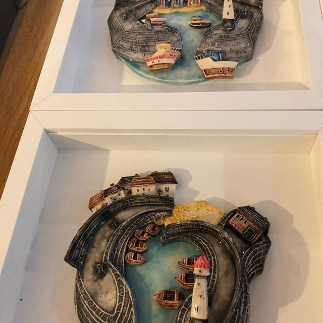 Harbours by the very talented Alison Jones. The gallery is just starting to get put back together after a mammoth redecoration....... just have to choose which one goes on the wall first!! Which do you like best? Delivery always possible #seaside #harbour #coastaldecor #coastalinteriors #lynton #exmoor #devon