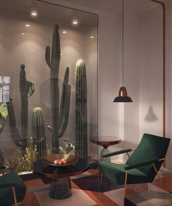 Never knew I needed a glass enclosed cactus wall until now. I'll also take those chairs & the floor.