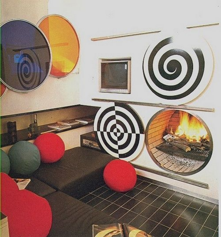 It's important to match the shape of your op art to the shape of your fireplace.