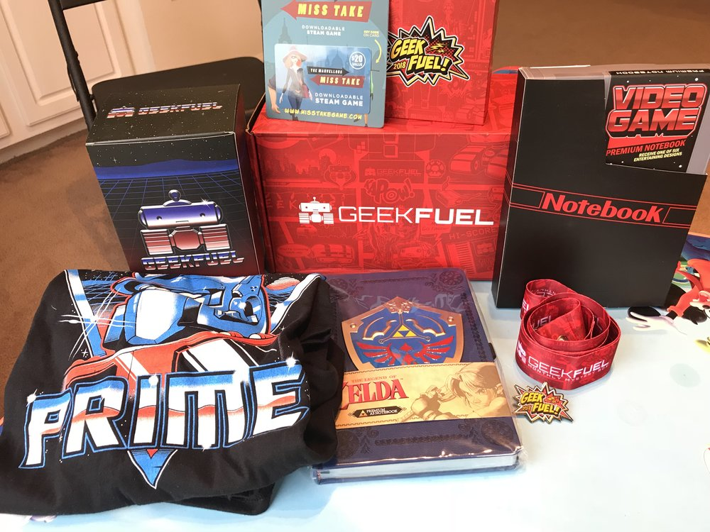 Overview of the January 2018 Geek Fuel box.