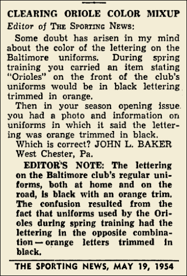 1954 ORIOLES COLOR MIXUP