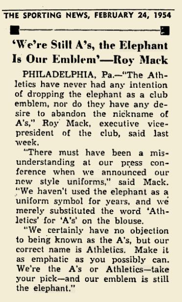 1954 A's ELEPHANTS