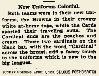04.09.1922 CARDINALS UNIFORMS