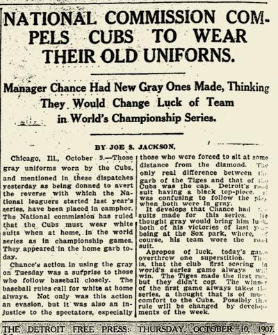 1907 CUBS WORLD SERIES UNIFORMS