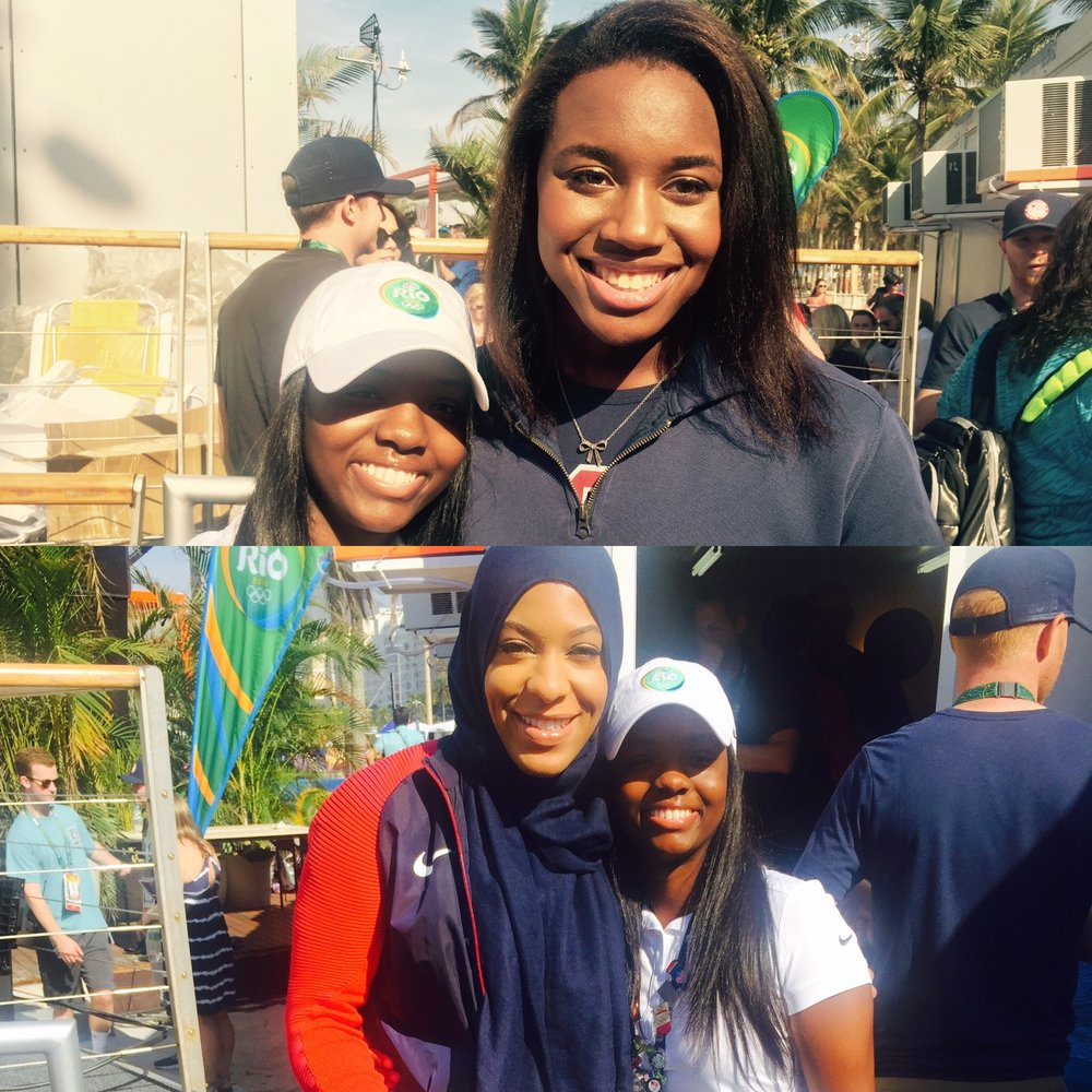 Rio de Janeiro, Brazil | 2016 | 21 years old  I had the honor of meeting Simone Manuel, the first African-American woman to win an individual Olympic gold in swimming. She set an Olympic record and an American record. Also, Ibtihaj Muhammad, an Olympic fencer, the first Muslim American woman to wear a hijab while competing for the United States in the Olympics. Black Girl Magic.