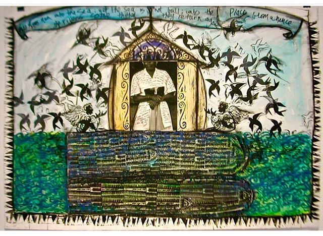 "#tbt  Crossings - 42""x29"" mixed media collage on Arches paper from 2007 Middle Passage Series  Glicee limited edition prints available first run hand embellished full size with border on cold press Archival paper  DM/email for price"