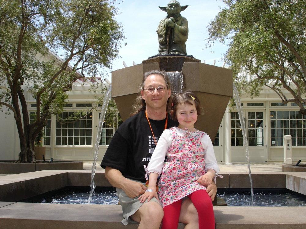 Hannah Kramer on the Yoda fountain