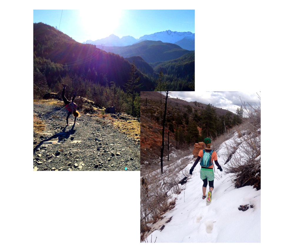 Left: An adventure run with friends on the Sea to Sky Trail. Right: Deep snow on the Zion Traverse