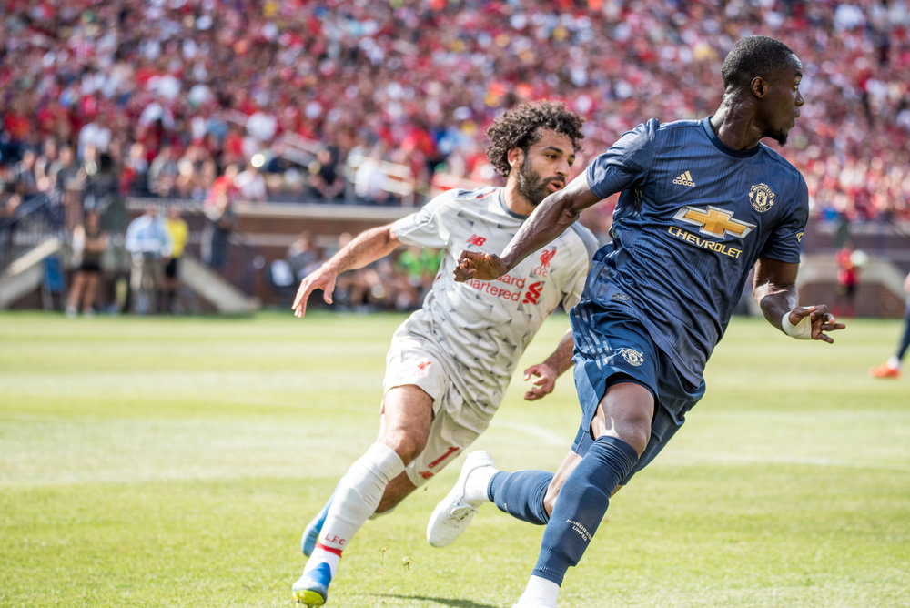 Eric Bailly (3) and Manchester United had their hands full trying to defend against Mohamed Salah (11) and the rest of the Liverpool attack - Photo: Elizabeth Wenner