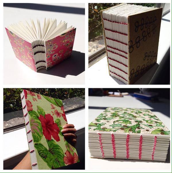 Hand-bound journals.