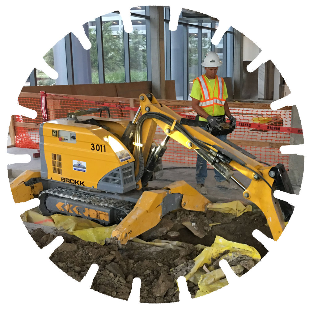 Robotic Demolition - Interior demolition, especially in tight spaces, is easy with the Brokk, a robotic, electric powered demolition hammer.