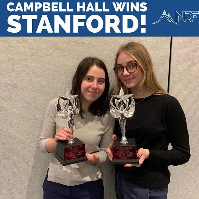 Congratulations to Francesca Lupi and Avalon Delasandro for winning the Stanford Invitational! They attended the Boston session in 2018 AND WILL BE BACK IN 2019!  Join them and many others for the best camp in the country!  Register at summitdebate.com