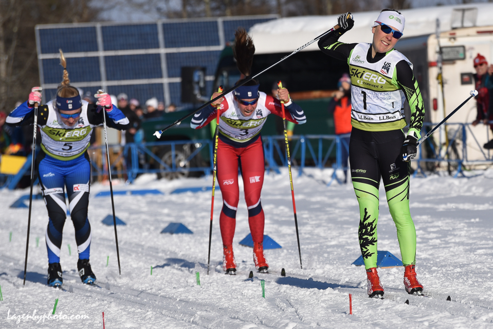 Crossing the finish line (left) in the classic sprint at US Nationals behind Ida Sargent (right), her Dresden team sprint partner, and Julia Kern (middle), her U23 World Championships teammate. U23 World Championships are happening this week in Lahti, Finland. Photo Red: John Lazenby