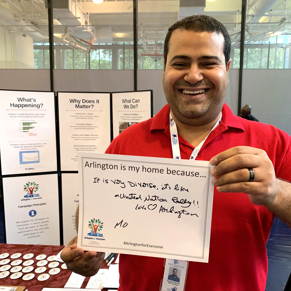 Mo Eldosoky joined the Arlington For Everyone campaign at the Live in Arlington Information Fair on October 13.