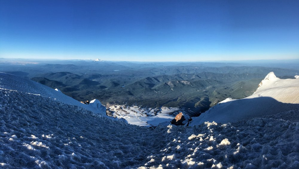 View looking south, from the groomed Timberline runs to Mt. Jefferson