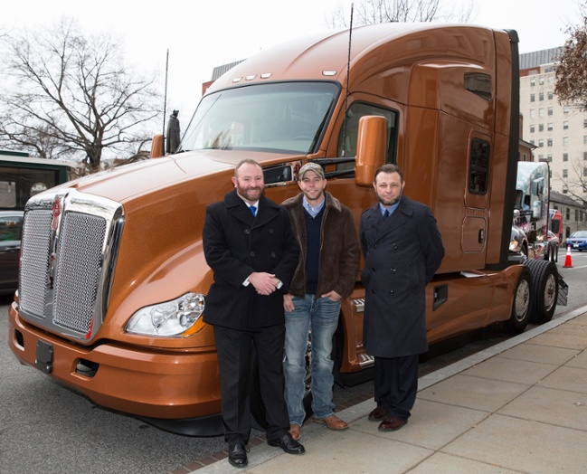 (Left to right) Transition Trucking: Driving for Excellence award winner Troy Davidson and finalists Kevin Scott and Russell Hardy pose outside the U.S. Chamber of Commerce in front of the Kenworth T680.