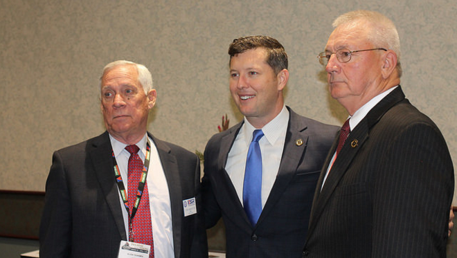 Left to right: Chair of Kentucky State ESGR, Mr. Allen Youngman (MG Ret); HON Patrick Murphy, Undersecretary of the Army; and Mr. Norman Arflack (BG Ret), Commissioner of the Kentucky Department of Veterans Affairs, State of Kentucky