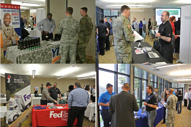 Top left to bottom right: YRC Freight, Ryder, FedEx Freight and Werner engaging with active-duty and former service members to help them meet their employment goals.