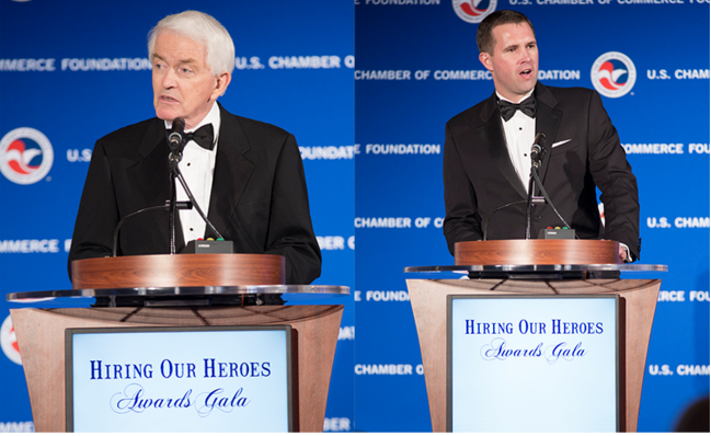 Thomas Donohue, President and CEO of U.S. Chamber of Commerce (left) and Eric Eversole, a Vice President at the U.S. Chamber of Commerce and President of Hiring Our Heroes (right)