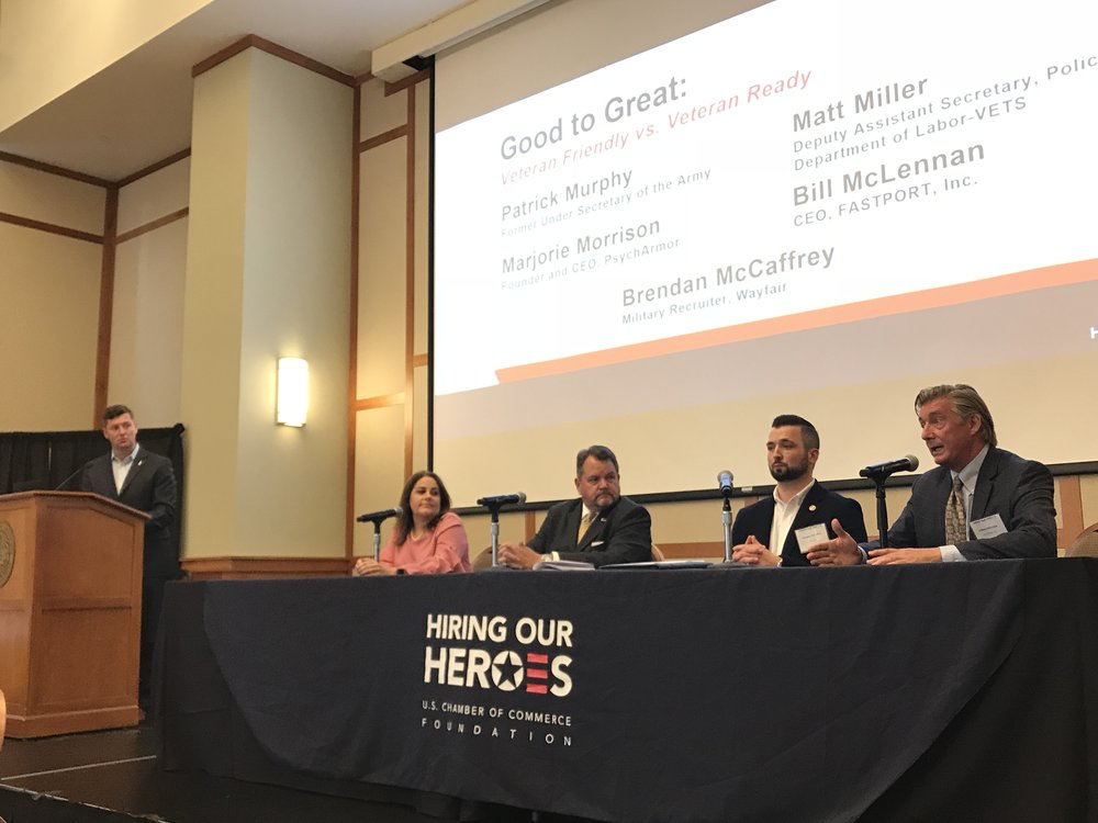 Left to right: Patrick Murphy, former Under Secretary of the Army; Marjorie Morrison, Founder and CEO of PsychArmor; Matt Miller, Deputy Assistant Secretary, Policy Department of Labor - VETS; Brendan McCaffrey, Military Recruiter of Wayfair; Bill McLennan, CEO of FASTPORT