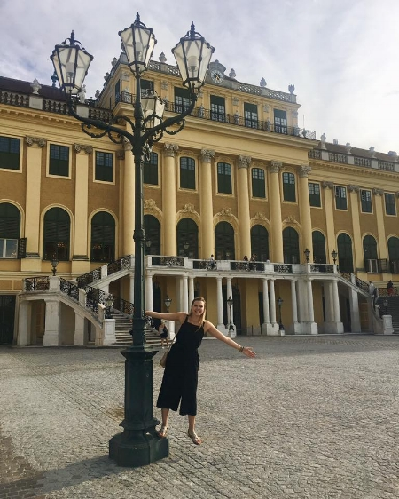Walking around the Schonbrunn Palace before the Mozart concert!