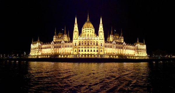 Hungarian Parliament lit up at night - so beautiful!
