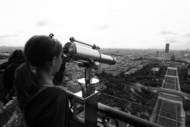 Paris in 2009, at the top of the Eiffel Tower