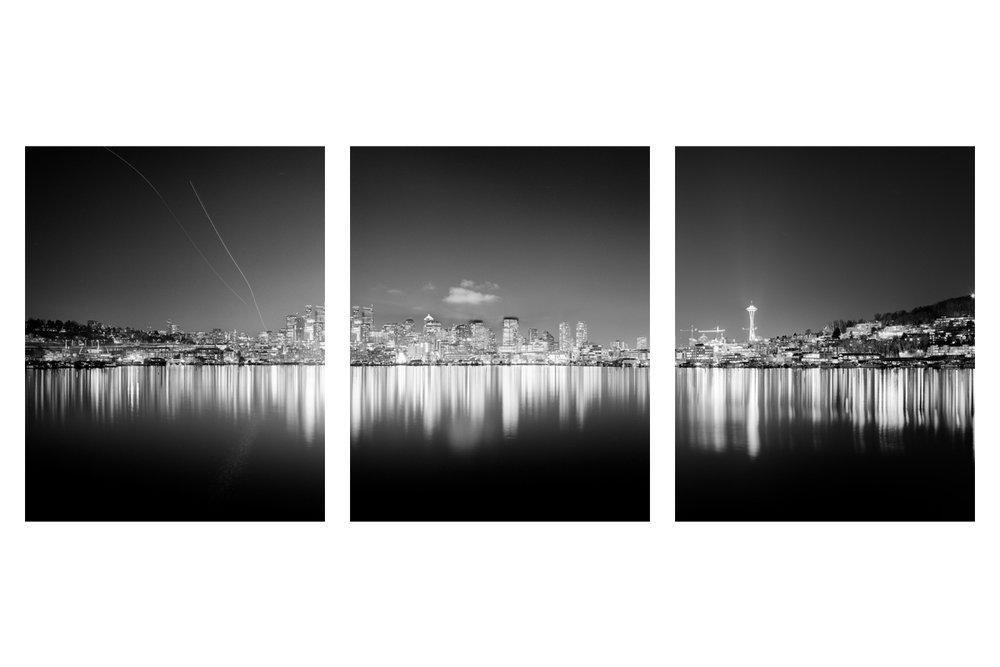 Seattle, Everett, Bellevue, Shoreline, Lynnwood, Edmonds, Bothell, Washington, Pacific Northwest, Fine Art, Print, Art, Landscape, Environmental, City, Night, Panoramic, skyline