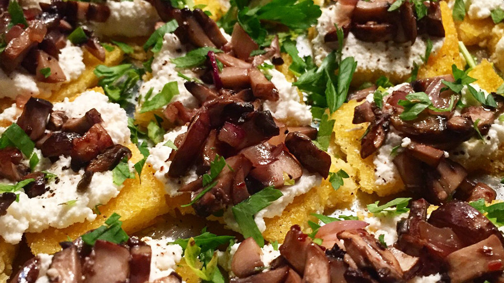 Polenta Crostini - Crispy polenta with mushrooms and ricotta.Click on the image for the full recipe!