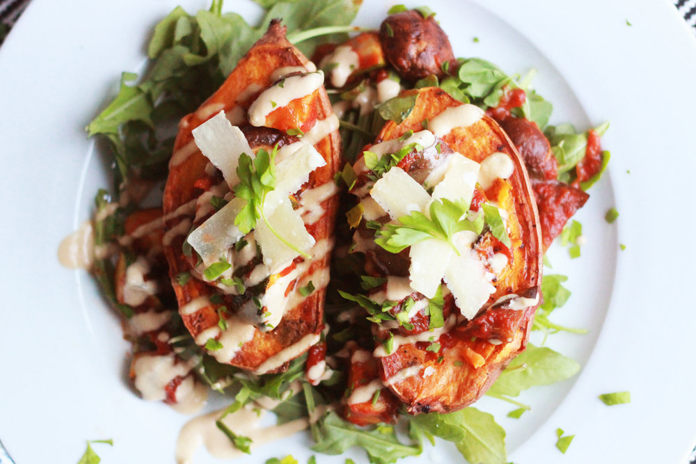 Stuffed Sweet Potato - with grilled veggies and tahini.Click on the image for the full recipe!