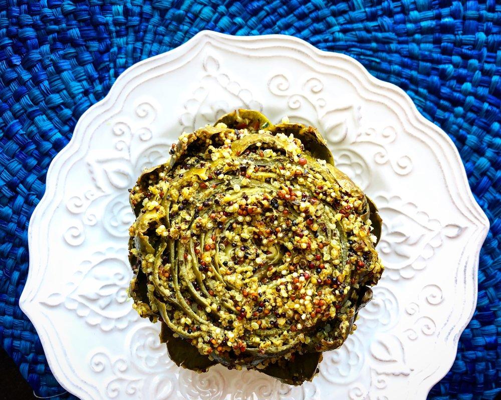 Vegan Stuffed Artichoke (GF) - 'Tis the season!Click the image for the full recipe!