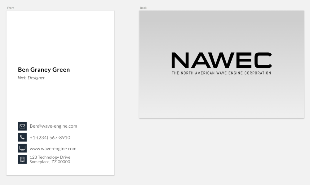 Original business card design created for the North American Wave Engine Corporation