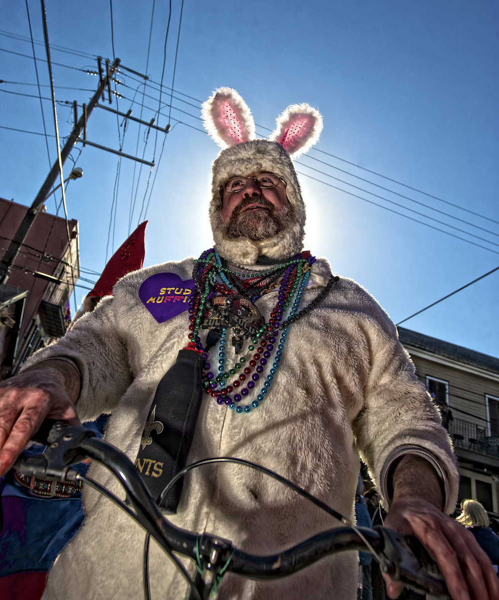 Scott Pashley as Stud Muffin on Mardi Gras Day in New Orleans.  Image by New Orleans based travel photographer, Marc Pagani