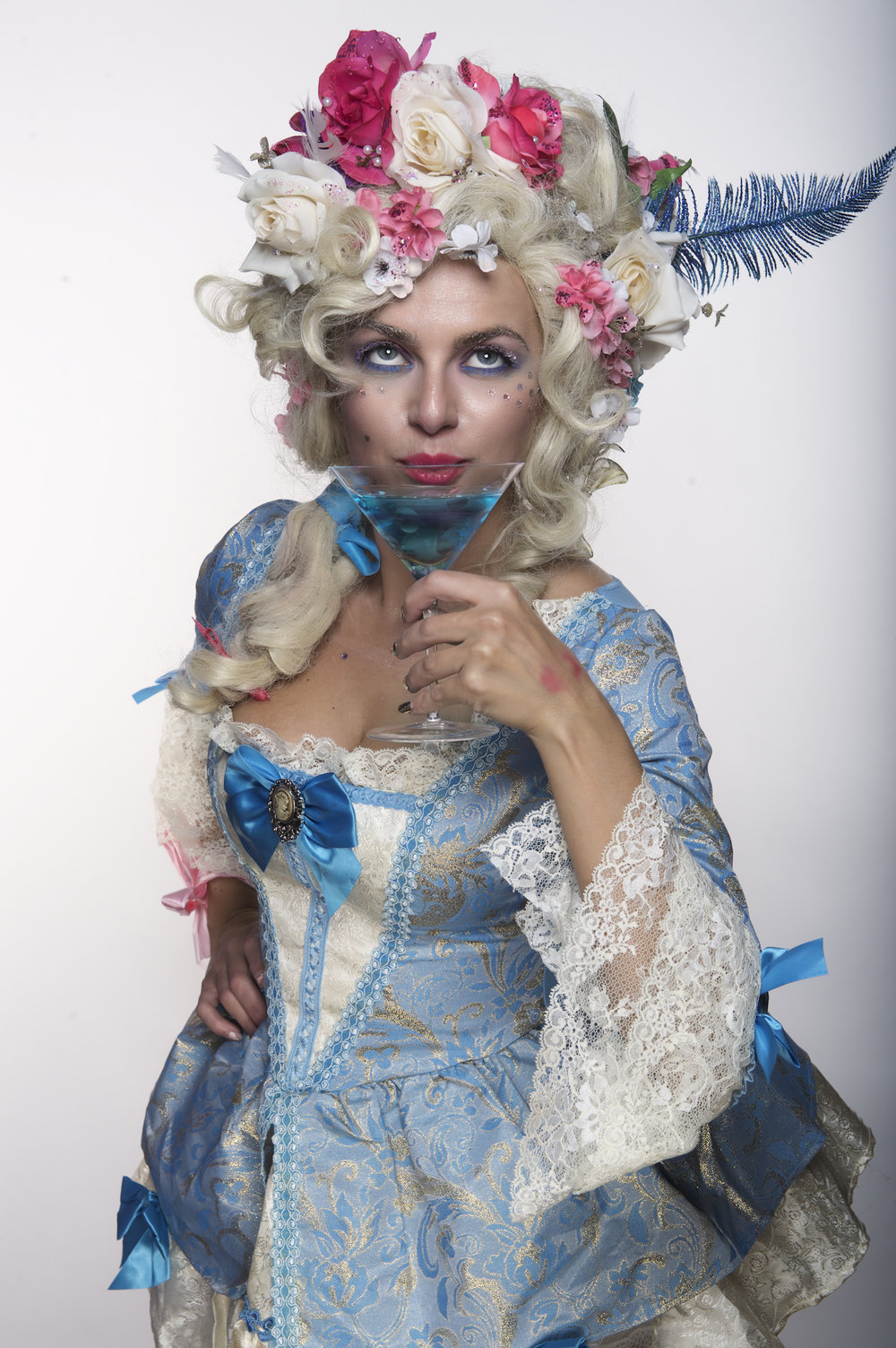 A New Orleans studio portrait headshot of a costume of Marie Antoinette.  Image by New Orleans based portrait photographer, Marc Pagani